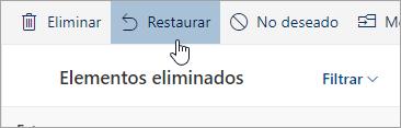 Captura de pantalla del botón Recuperar.