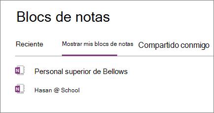 Bloc de notas para docentes en la sección mis blocs de notas en OneNote para la web
