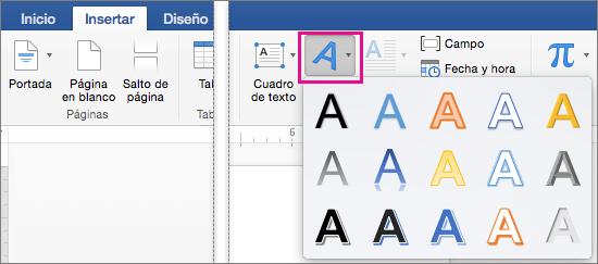 Pestaña Insertar con la opción WordArt resaltada.