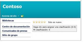 Clasificaciones en una página de SharePoint