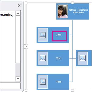 Organigrama con imágenes de SmartArt con un cuadro en el organigrama resaltado para mostrarle dónde se puede escribir texto