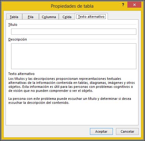 Ficha de texto alternativo en el cuadro de diálogo Propiedades de tabla
