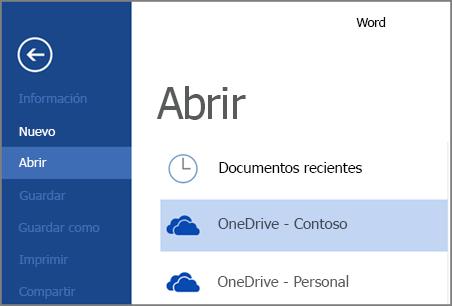 Abrir un archivo de OneDrive para la Empresa en Word