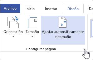 Haga clic en el icono en la esquina de la sección Configuración de página