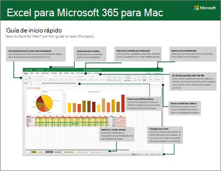 Guía de inicio rápido de Excel 2016 para Mac