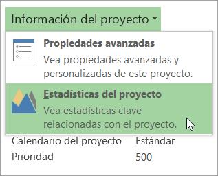 Opciones de Información del proyecto