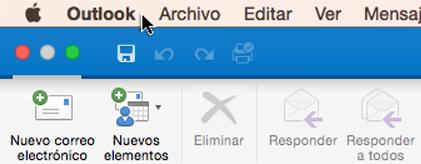 Para comprobar qué versión de Outlook tiene, elija Outlook en la barra de menús.