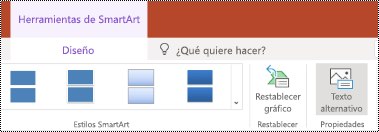 Botón texto alternativo en la cinta de opciones para un SmartArt en PowerPoint online.