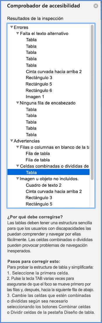 Captura de pantalla del menú del Comprobador de accesibilidad