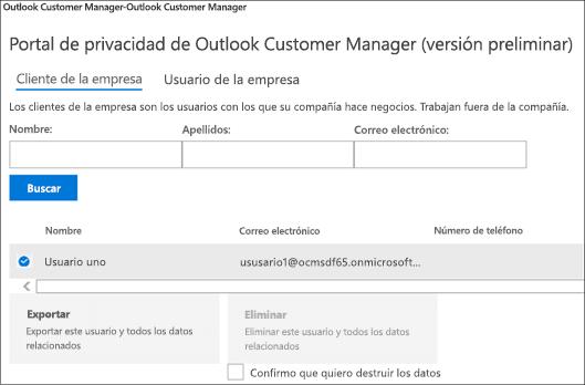 Captura de pantalla: Datos del cliente de administrador de cliente de Outlook de exportación