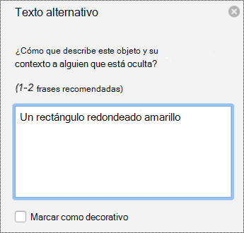 Panel de texto alternativo para las formas de PowerPoint para Mac en Office 365