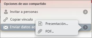 Opciones para compartir correo electrónico en PPT para Mac
