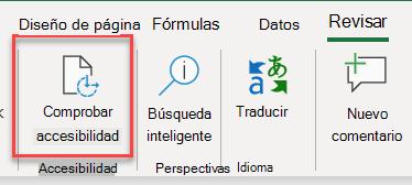 Captura de pantalla de la interfaz de usuario para abrir el Comprobador de accesibilidad