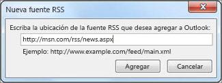 Escribir la dirección URL para la fuente RSS