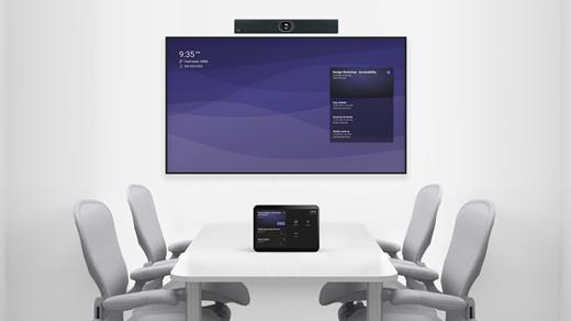 Sala de reuniones con dispositivo y consola integrados