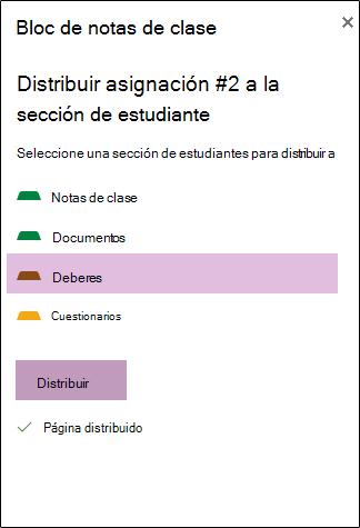 Ejemplo de asignación distribuida en OneNote Web App