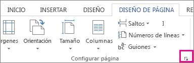 Botón que abre el cuadro Configurar página