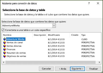 Asistente para la conexión de datos > Seleccionar base de datos y tabla