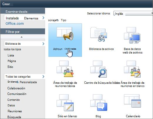 Página crear lista o biblioteca de SharePoint 2010 con anuncios resaltados