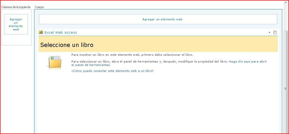 El elemento web de Excel Web Access muestra el panel Seleccionar un libro