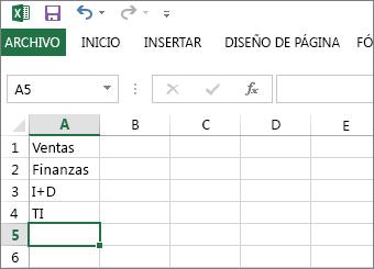 Crear una lista desplegable de entradas en fila o columna única en Excel