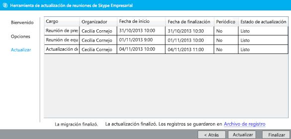 Captura de pantalla de la herramienta de migración de reuniones finalizada