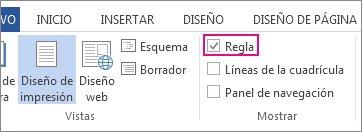 Captura de pantalla de la pestaña Vista en Word 2013, donde se muestra la opción Regla seleccionada y resaltada.