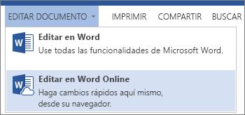 Opción del menú Editar en Word Online