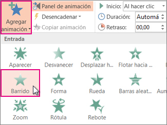 Agregar un efecto de animación en PowerPoint