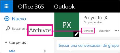 Captura de pantalla al hacer clic en Archivos en un grupo para ir a la ubicación de OneDrive del grupo