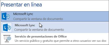Presentar en línea con Microsoft Lync