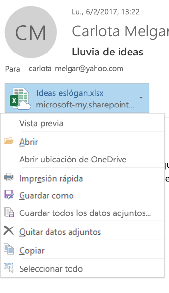 Elija la flecha desplegable en la parte derecha del icono de datos adjuntos para ver el menú de datos adjuntos