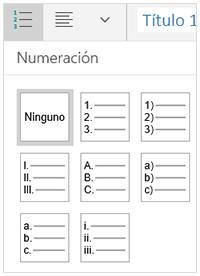 Estilos de numeración