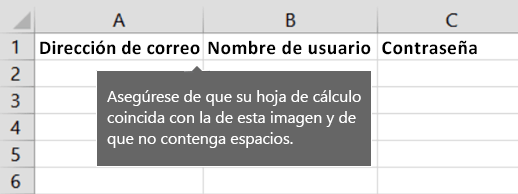 Títulos de celda en el archivo de migración de Excel