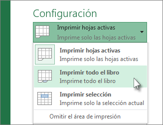 En Configuración, haga clic en Imprimir toda la hoja