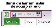 Barra de herramientas de acceso rápido de Excel 2010