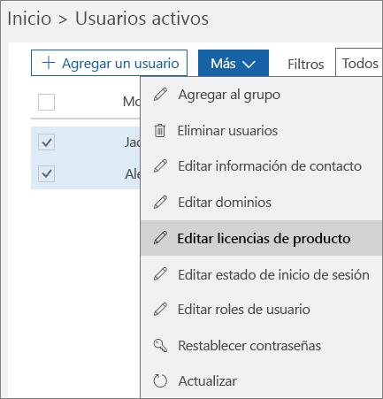 Quitar todas las licencias de usuario mediante el Centro de administración de Office 365
