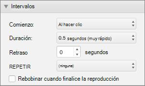 La captura de pantalla muestra la sección temporización del panel animaciones con las opciones de inicio, duración, retraso y repetición y una casilla de verificación para rebobinar cuando se termina de reproducir.