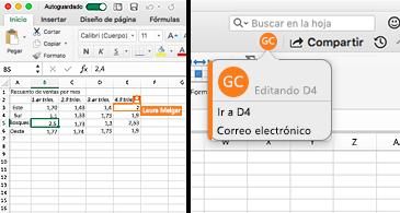 Hoja de cálculo en la que se muestra una celda con un borde naranja en la parte izquierda y una burbuja con las iniciales de una persona y las coordinadas de la celda resaltada, lo que indica que están editando el contenido en la parte derecha.