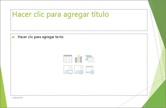 Una diapositiva de título y contenido con dos marcadores de posición