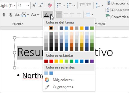 Usar las opciones de Color de fuente para cambiar el color del texto