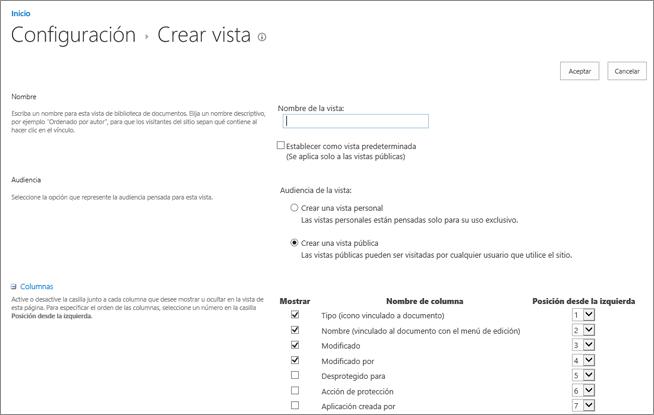 Página crear configuración de vista