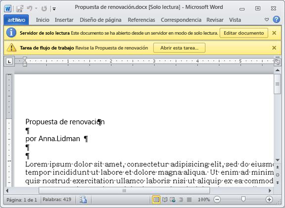 Elemento para revisión con dos barras de mensajes amarillas