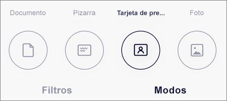 Opciones de modo para digitalizaciones de imágenes en OneDrive para iOS