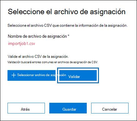 Haga clic en validar para comprobar el archivo CSV de errores