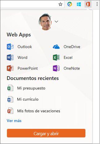 Haga clic en la extensión de Office para la Web en la barra de extensiones de Chrome para abrir el panel de Office Online.