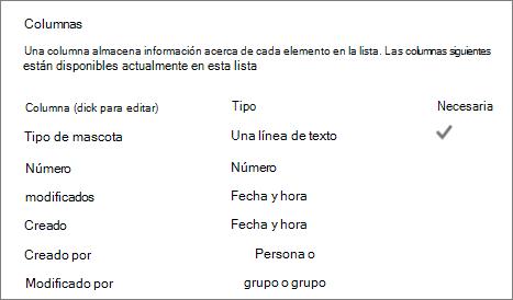 Sección de columna de la lista de configuración de lista
