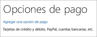 La página Opciones de pago que muestra el vínculo Agregar una opción de pago.