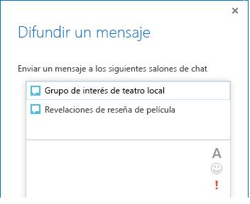 Captura de pantalla de la parte superior del cuadro de diálogo Difundir un mensaje