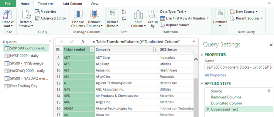 Interfaz de usuario configuración de consulta